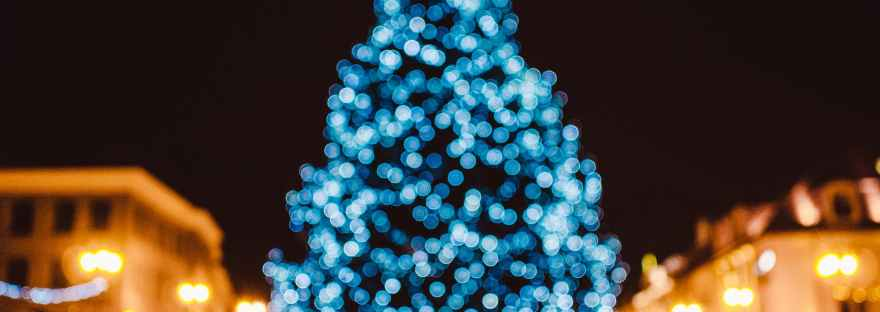 city tree bokeh christmas